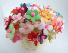 Buy 100 MIXED PAPER FLOWER BLOSSOM ARTIFICIAL MULBERRY CRAFT DECORATION DAI 1.5 CM
