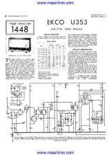 Buy EKCO U353 Equipment Service Information by download Mauritron #326473