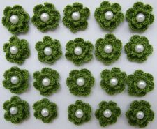 Buy 20 GREEN CROCHET FLOWER PEARL APPLIQUES ARTIFICIAL SEWING CRAFT HANDMADE WEDDING