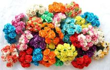 Buy 100 MIXED ARTIFICIAL MULBERRY PAPER ROSE FLOWER WEDDING SCRAPBOOK DAI 2.5CM NEW