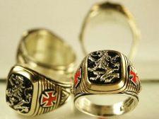 Buy Heraldic Lion Mens Templar Cross ring sterling silver Lge.
