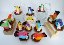 Buy 12 ARTIFICIAL BIRDS ORNAMENTS FOAM FLORAL CRAFTS DECORATIVE WEDDING MULTI COLOR
