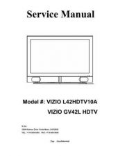 Buy Vizio L42HDTV10A Television Service Manual by download Mauritron #322301