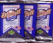Buy 3 new 1991 UPPER DECK baseball FOIL PACK sealed