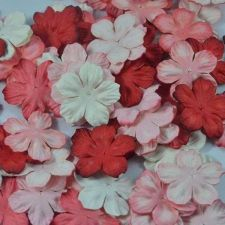 Buy 100 MIXED MULBERRY PAPER ARTIFICIAL PETAL FLOWERS RED TONE COLOR DIA 3.3 cm/1.3""
