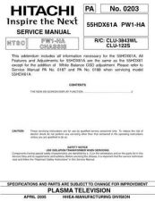 Buy Hitachi 55HDX6142HDX61 Service Manual by download Mauritron #288336