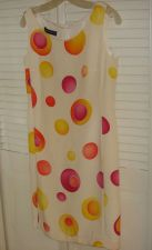 Buy Louis Féraud Silk Citrus Dress 6 Geometric Circles 100% Silk Sleeveless Bust 34