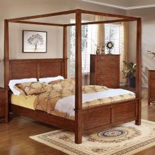 Buy Canopy Bed King Size King Bedroom Furniture Bed Frame with corner posts #F9277