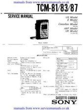 Buy Sony TCM-81_83_87 Manual by download Mauritron #306572