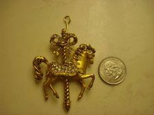 Buy FRANKLIN MINT Huge Carousel Horse Crystals Gold Toned PENDANT & FM Glass Case