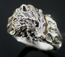 Buy WOLFSHEAD FLAME Motorcycle Skull ring Sterling Silver