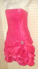 Buy Cache' Mini Dress 6 Prom Hot Pink Strapless Ruched Sexy Hot Cocktail Prom 6