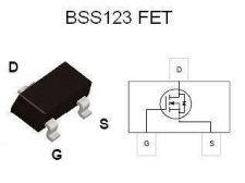 Buy SMT FET - BSS123 N-Channel, Logic-Level (SOT-23) - 22 Pieces