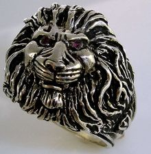 Buy LARGE LION Head Mens ring Sterling Silver Ruby