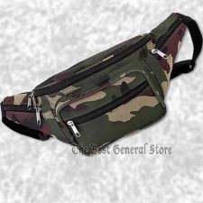 Buy Green Camo Water Repellent Waist HIp Bag Fanny Pack Hiking 5 Zippered Pockets