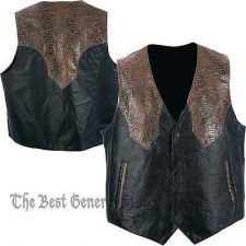 Buy Mens Black & Brown Lined Leather Western Style Vest Southwestern