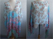 Buy BLUE SKY PAISLEY CHIFFON KAFTAN TUNIC SARONG BEACH PAREO DRESS SWIMWEAR COVER