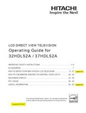 Buy Hitachi 37HDL52 Service Manual by download Mauritron #287878