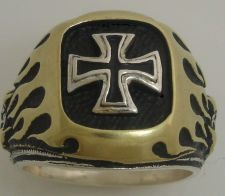 Buy Old School Chopper Iron Cross Flame Mens ring sterling silver Lge.