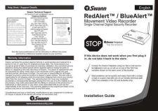 Buy Swann REDALERT BLUEALERT DVR ONLY 27-06-08 Instructions by download #336446
