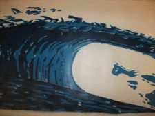 Buy Wave Surf Print Painting on canvas unframed. finished off by hand. original