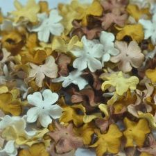 Buy 100 MIXED MULBERRY PAPER ARTIFICIAL MINI PETAL FLOWER BROWN TONE DIA. 2 cm/ 0.8""