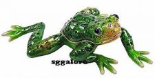 Buy Collectible RUCINNI Swarovski Crystals Jeweled LEAPING FROG Trinket Jewelry BOX