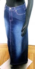 Buy Casual Pencil Straight LONG SKIRT Blue Stretch DENIM Lazer JEANS Women's SIZE 3