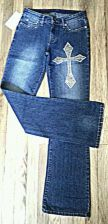 Buy NWT Stretch Blue MGY Boot Cut JEANS 95% Cotton Cross Embellish Tall Women SIZE 7