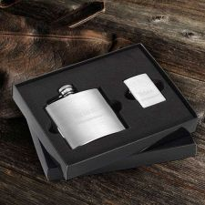 Buy Brushed Flask and Zippo Lighter Gift Set - Free Personalization