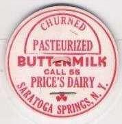 Buy New York Saratoga Springs Milk Bottle Cap Name/Subject: Price's Dairy Chur~227