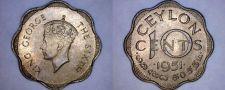 Buy 1951 Ceylon Sri Lanka 10 Cent World Coin
