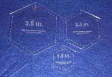 "Buy Quilting Template - Small Hexagon Half Sizes - 1.5"", 2.5"", 3.5"" - 1/8"" Clear"