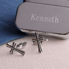 Buy Cross Cufflinks with Personalized Case