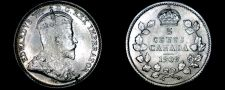Buy 1909 Canada 5 Cent World Silver Coin - Canada - Edward VII - Round Leaves