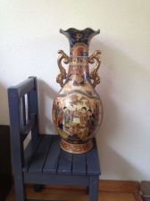 Buy Estate Satsuma Large Chinese Vase Gilded Handles Hand Painted 18 2/4 Tall