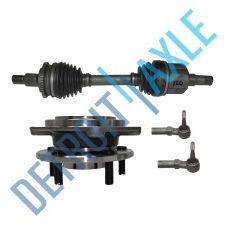 Buy Front Passenger CV Axle Shaft w/ ABS + 2 Tie Rod + Wheel Hub + Bearing Assembly
