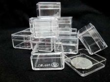 "Buy 12 SMALL CLEAR SQUARE PLASTIC BOXES Size1"" LIDS Contain Accessories Miniature"