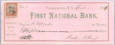 Buy New York Cooperstown Cancelled Check First National Bank of Cooperstown Ch~42