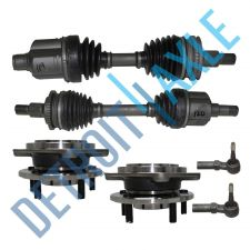 Buy 2 Front CV Axle Shafts w/ ABS + 2 Tie Rods + 2 Wheel Hub and Bearing Assembly