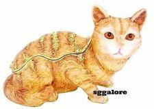 Buy New RUCINNI Swarovski Crystals BeJeweled TABBY CAT Trinket Jewelry BOX CATS