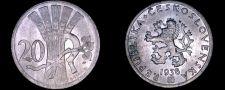 Buy 1938 Czech 20 Haleru World Coin - Czechoslovakia