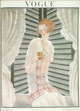 Buy Vogue 1922 Cover Print Lady Sipping Drink Curtains Art Deco 1984 original print