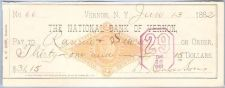 Buy New York Vernon Cancelled Check National Bank Of Vernon Check #66 Dated: J~56