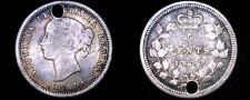 Buy 1870 Canadian Nickel 5 Cents Canada World Silver Coin - Holed