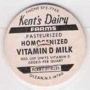 Buy New York Olean Milk Bottle Cap Name/Subject: Kent's Dairy Farms Vitamin D ~139