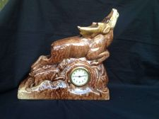 Buy antique porcelain. Mantle clock with Deer and dog .Made in Germany