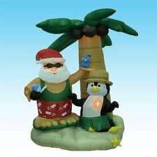 Buy 7 Foot Inflatable Santa Claus Penguin On An Island W Palm Tree Halloween Holiday