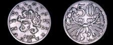 Buy 1924 Czech 50 Haleru World Coin - Czechoslovakia