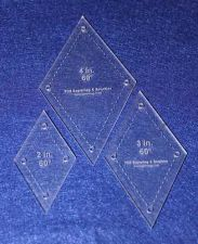 """Buy 3 Piece Set Quilt Diamonds 1/8"""" 2"""", 3"""", 4"""" with Guideline Holes"""